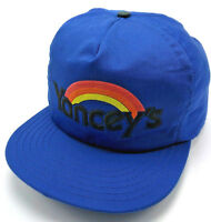 Vintage YANCEY'S RAINBOW VILLAGE blue adjustable cap / hat - Made in USA