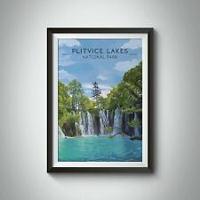 More details for plitvice lakes national park travel poster, croatia - bucket list prints