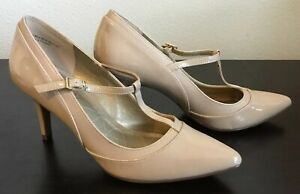 KELLY & KATIE New Nude Patent Leather T-Strap Pumps - Size 7