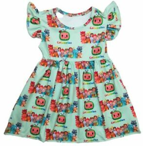 COCOMELON COLORFUL ANGEL SLEEVES LIGHT MINT DRESS - New - Size 4T