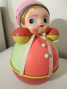 "VINTAGE ROLY POLY TOY CELLULOID DOLL 11"" TALL ARGENTINA 1950's"