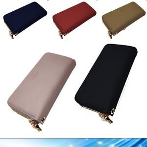 Portafoglio da Donna Grande Portamonete Carte Pelle Doppia Cerniera Zip Coveri