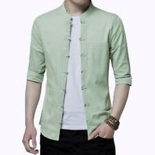 Summer Men's Slim Fit Casual Shirt Half Sleeve Tops Chinese style Stand collar D