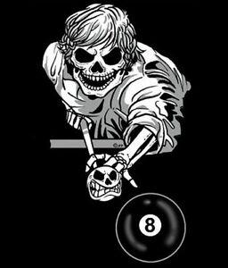 SKELETON 8 BALL POOL PLAYER SKULL SWEATSHIRT