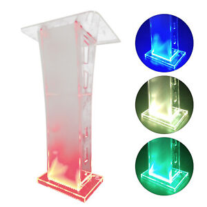 Acrylic Podium Lectern Pulpit Presentation Stand with LED Light Transparent New
