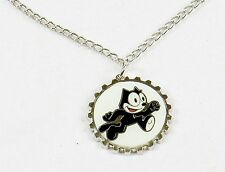 Felix The Cat Necklace, Silver Tone Bottle Cap Pendant ~ Felix Running, #YNC1139