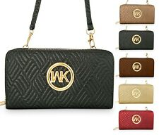 MK Emblem Zip Around Women's Wallet Crossbody Bag Cell Phone Purse Travel bag