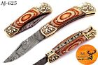 HAND FORGED DAMASCUS STEEL FOLDING POCKET KNIFE WITH WOOD HANDLE - AJ 625