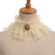 Vintage Elizabethan Victorian Neck Ruff Party Cosutme Ruffled Collar With Cameo