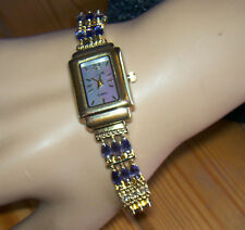 Iolite & White Topaz Silver Watch, Gold Plated 90162