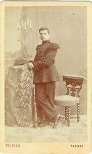 Photo cdv : Buisson , Jeune militaire debout en pose , vers 1875