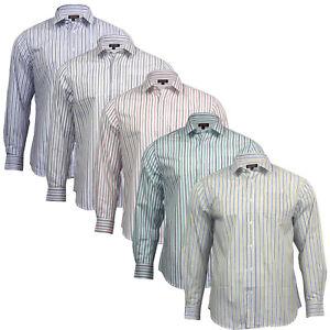 Men's Long Sleeve Regular Fit 100% Cotton Striped Formal Smart Casual Shirt Top