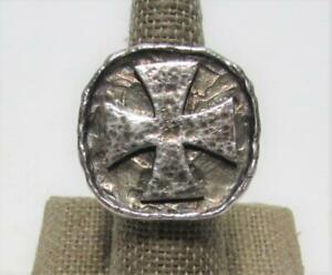 Vintage Signed Sterling Silver Hammered Iron Cross Biker Ring Size 7 - Heavy 32g