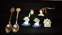 vintage Walt Disney collectibles lot 2 spoons, necklace, lapel pins