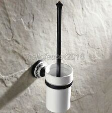 Black Oil Rubbed Bronze Toilet Brush Holder Set Bathroom Cleaning Accessories
