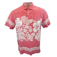 New Mens Tommy Bahama Tiki Time Short Sleeve Two Button Placket Pullover Shirt M