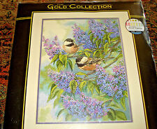 Dimensions Cross Stitch Kit Gold Collection CHICKADEES AND LILAC Birds 12x16 NIP