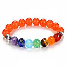 Orange Stone 7 Chakra Healing Balance Beads Reiki Prayer Yoga Buddha Bracelet