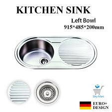 915*485mm Slimline Stainless Steel Kitchen Sink Tape Hole Drainer Left Bowl