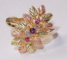 Black Hills Gold 10 kt 12 kt Diamonds Rubies Waterfall Leaf Ring Size 6 1/2