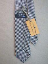 NEW Limited Seven Fold Silk Necktie Handmade Tie Navy Gold Houndstooth Unlined