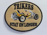 Trikers Stay On Longer Biker Iron on patch Sew on transfer Embroidered New