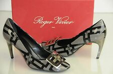 New Roger Vivier Patent Grey Black BELLE DE NUIT T.85 Silver Buckle Shoes 39.5 9