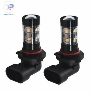 Pair 50W 9006 HB4 High Power 3000K Amber Orange For  LED Fog Lights Bulbs