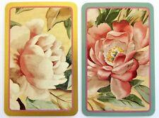 PAIR SWAP CARDS. PINK PEONY FLOWERS. 1800s FABRIC DESIGN WINTERTHUR MUSEUM. MINT