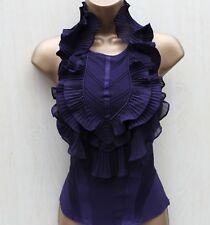 Rare KAREN MILLEN Purple Silk Satin Frilled Halter Neck Blouse Corset Top 8 UK