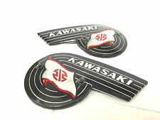 NEW KAWASAKI A1 A1SS 250 A7 A7SS 350 NOS OEM LEFT & RIGHT FUEL GAS TANK EMBLEMS