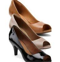 Clarks Artisan Cynthia Avant Nude Leather Peep Toe Heels 9.5M
