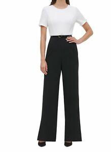 Tommy Hilfiger Womens Jumpsuit Black Size 10 Colorblock Pleated $139- 274