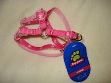 Top Paw X-Small Pet Dog Cat Harness Step In Adjustable Pink w/ White Paw Prints
