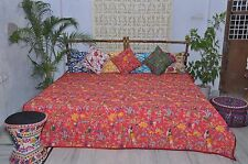 Handmade Red tropical Quilt.Teen bedding Kantha Bedspread, Bird pattern.Queen