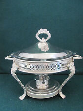 SILVER PLATED COVERED SERVING/CHAFING DISH W GLASS INSERT& ALCOHOL BURNER