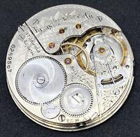 Elgin Grade 159 Pocket Watch Movement 16s 17j Openface model 7 ticking F5354