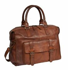 Real Leather Holdall Weekend Bag Rust Brown Vintage Travel Cabin Overnight Bag