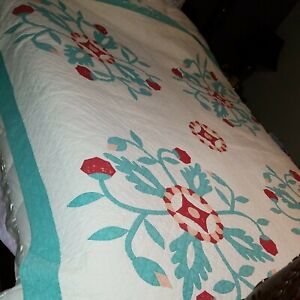 Vintage Antique 100% Cotton 100% Hand Stitched Quilt Full AS IS 78x78