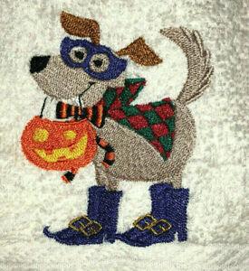 Embroidered Ivory Bathroom Hand Towel Halloween Tan Dog w Pumpkin Boots Costume