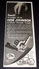 1919 OLD MAGAZINE PRINT AD, IVER JOHNSON REVOLVERS, A TUSSLE-STUMBLE-FUMBLE!