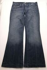 R198 7 For All Mankind DOJO Low Rise Flare Jeans Tag sz 30 (Mea 31.5x33) Long