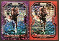 2020-21 Panini Prizm Dennis Rodman Purple Disco Prizm SP /75 & Ruby Red Wave SP