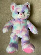 "Build A Bear Workshop Plush Pastel Swirl Kitty Cat 16"" Aqua Purple Pink White"