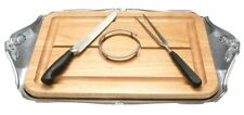 Lenox Butler's Pantry 5-Piece Roast Carving WOOD CUTTING BOARD Metalware NEW