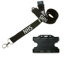 Black NHS Breakaway Lanyard with Double Sided BLACK ID Card Holder - UK Stock