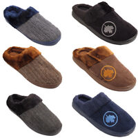 MENS MAPLE LEAF KNITTED WOOLEN TEXTILE FUR LINED WINTER SHOES SLIDER SLIPPER UK