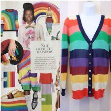 Rainbow Candy Stripe Bright Multicolored Hippie Boho Katsumi Cardigan S 8 10