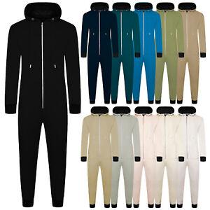 Mens Hooded Zip Through Loungewear Bodysuit Plain All In 1 Jumpsuit New