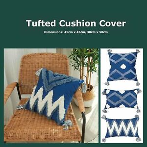 Navy Blue Diamond Wave Tufted Cushion Cover Boho Handmade Tassels Pillow Case